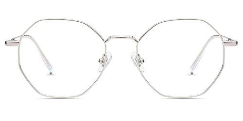 Firmoo Optische Brille, gegen blaues Licht, Designer Mode, Rahmen aus Metall, Sichtschutz, Polygon, Augenschutz, Frauen und Männer
