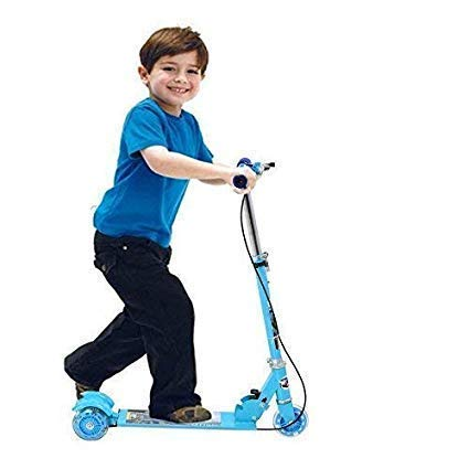 Uwilla Road Runner Scooters for Kids Kick Scooter with Brake Bell LED Lights in Wheels and Adjustable Height (3-10 Years - Multi Color)
