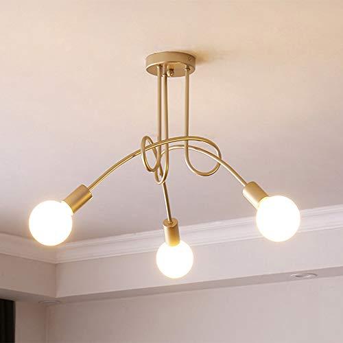 Vintage Sencilla Lámpara de techo Creative Moderna Luz de Colgante Metal Iluminación 3 Brazos (Dorado)