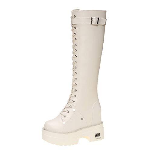 Womens Lace Up Boots Mid Knie Hoge Laarzen Dames Bont Gevoerde Warm Ruige Platform Heel Biker Combat Kalf Enkellaarsjes,Beige,39 EU