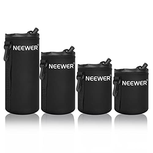 Neewer Lens Case 4-Pack, Lens Pouch Bag with Thick Protective Neoprene for DSLR Camera Lens (Fit for Canon, Nikon, Sony, Olympus, Panasonic) Includes: Small, Medium, Large, XL Size