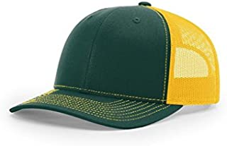 Twill Mesh Back Trucker Snapback Hat -- Dark Green/Yellow