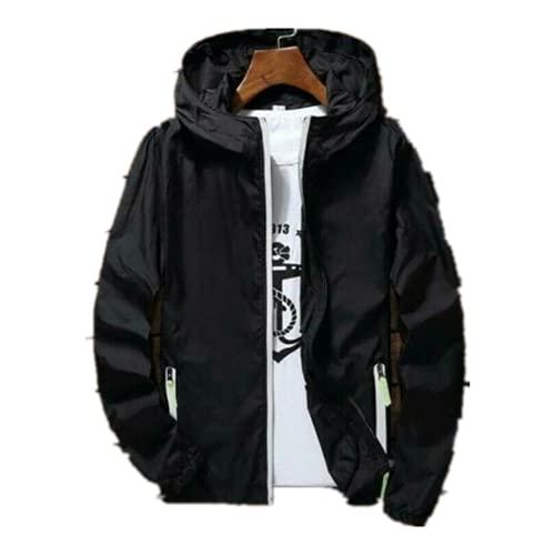 Hombres impermeable viento Breaker abrigo cremallera sudadera con capucha chaqueta de secado rápido deporte