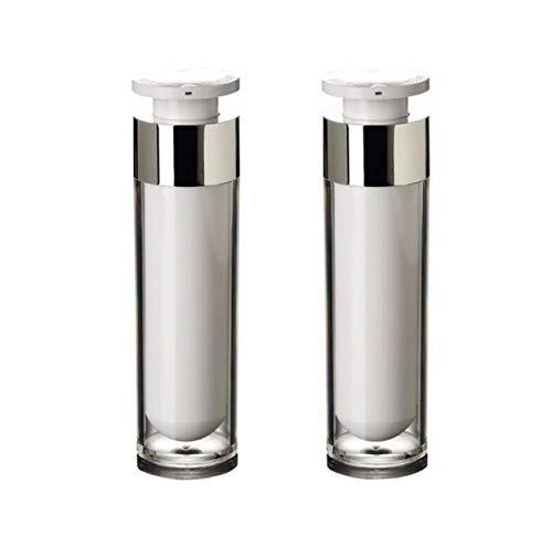2pcs acrilico airless pompa vuoto crema lozione bottiglia fiala vasetti a baionetta toner occhi cosmetici cosmetici cortesia liquido trucco fondotinta dispenser (50ml/1.7oz)