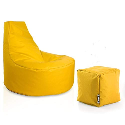 Patchhome Gamer Sessel inkl. Würfel Bean Bag Set Ø75cm, 30cm Sitzhöhe, 80cm Höhe + 35x35cm Würfel Gelb