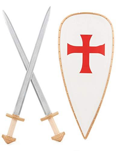 Generique - Kreuzritter-Set mit 2 Schwertern and Schild für Kinder