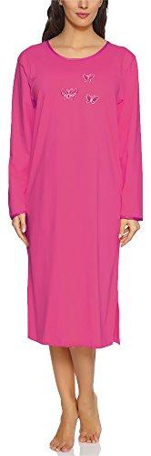 Merry Style Chemise de Nuit Lingerie Robe Vêtement d'Intérieur Manches Longues Femme 91LW1 (Amarante (Manches Longues), S)
