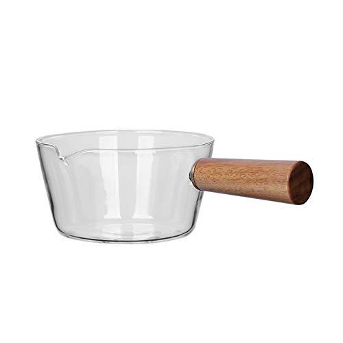 Cacerola de vidrio,Cuencos de Vidrio Olla,Olla de vidrio para leche,con mango de madera Cacerola de cristal a prueba de calor,cuenco transparente de la ensalada de fruta del pote de los tallarines
