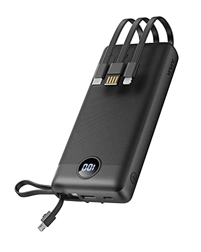 VRURC Power Bank 20000mAh USB C Carga Rápida,Cargador Portátil con 4 Cables de Carga Integrados(UCB C/Micro USB),Bateria Externa Movil con 4 Salidas y 2 Entradas Compatible con Smartphones