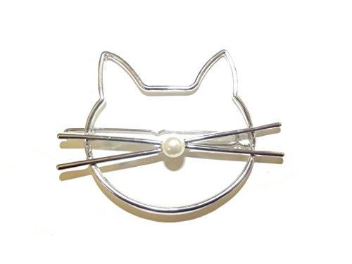 große Katzen-Haarspange Haarnadel mit Katzengesicht und Perlen-Nase (silberfarben)