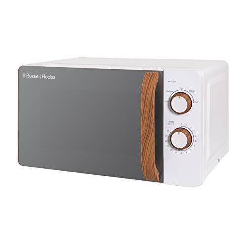 Russell Hobbs RHMM713 Hand-Mikrowelle Scandi, 17 l, 700 W, kompakt, weiß, mit 5 Leistungsstufen, Griff in Holzoptik, Timer, Abtaustufung, einfache Reinigung