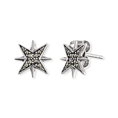 Engelsrufer Damen-Ohrstecker Stern 925er Silber rhodiniert 16 Markasit One Size 87847411