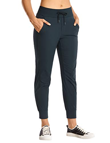 CRZ YOGA Women's Hiking Pants Lightweight Quick Dry Drawstring Joggers with Pockets Elastic Waist Travel Pull on Pants True Navy Small