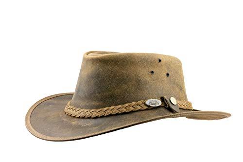 Black Jungle Bulat Lederhut, Westernhut, Australienhut, Cowboyhut (Tan, M)