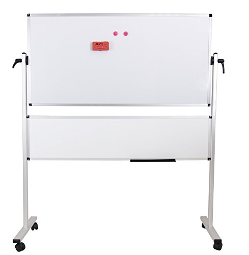 VIZ-PRO Double-sided Magnetic Mobile Whiteboard, 48x24 Inches Plus 48x12 Inches, Aluminium Frame & Stand