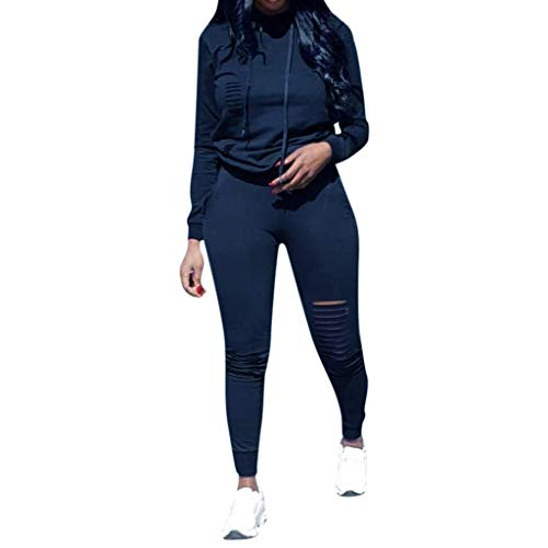 Amazing Deal Seaintheson Womens Tracksuit Set Two Piece,Casual Solid Long Sleeve Hooded Drawstring S...