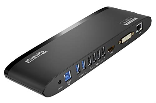 Plugable USB 3.0 Universal Laptop Docking Station for Windows and Mac (Dual Monitor: HDMI and DVI/HDMI/VGA, Gigabit Ethernet, Audio, 6 USB Ports) - Horizontal