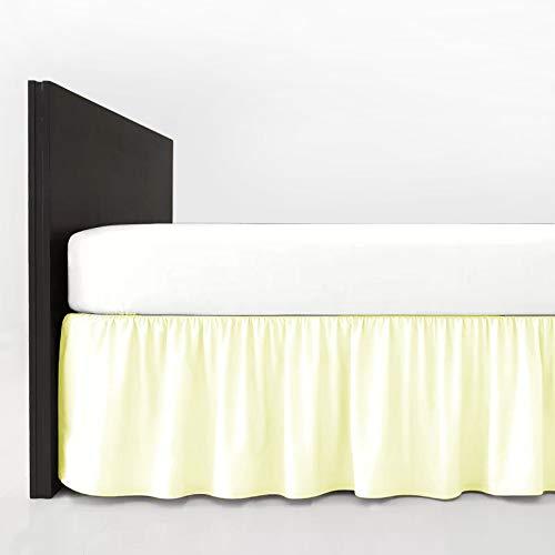 Mfabrics Bettvolant aus Baumwollmischgewebe, einfarbig, pflegeleicht, maschinenwaschbar, erhältlich in 20 Farben, 40 cm Rüschen, Baumwollmischung, cremefarben, Doppelbett