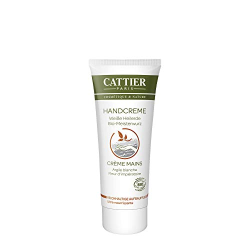 Cattier Handcreme Reichhaltige Aufbaupflege mit weißer Heilerde, zertifizierte Naturkosmetik, 75 ml
