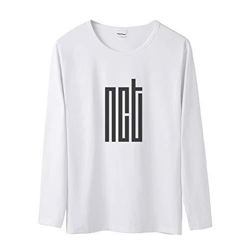 Fanstown Kpop NCT Tshirt NCT U NCT 127 NCT Dream Tshirt White Long Sleeves Shirt with pin Button Badge