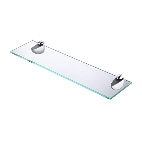 KES Duschablage Glasregal Glasablage für Badezimmer 8mm Hartglas Wandregal Bad Badregal Glas Wandmontage Halterung 50cm mit Regalträger Poliert Chrom, BGS3200