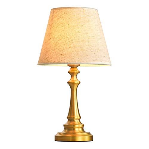 Equipo diario Lámpara de mesa de cobre Pantalla de lino Lámpara de mesa de metal Lámpara de mesa lateral de escritorio Lámpara de mesa de mesa auxiliar Ahorro de energía Protección ocular Luz noctu
