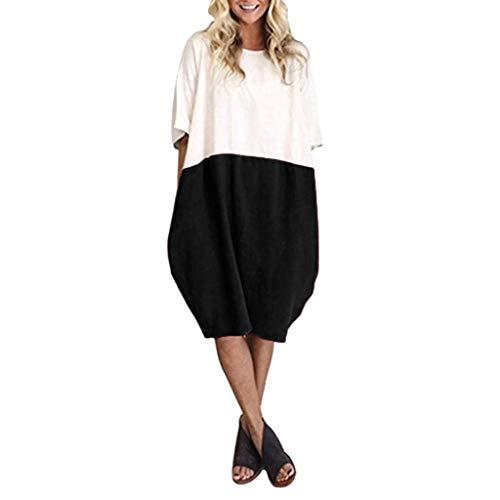 For Sale! Auimank Anniversary Celebration Skirt Dress,2019d Women Casual Loose Linen Patchwork Hal...