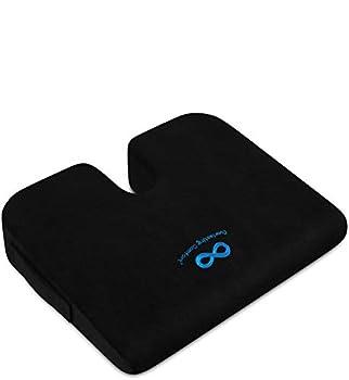 Everlasting Comfort Car and Truck Seat Cushion - Memory Foam Wedge Chair Driving Pillow  Black