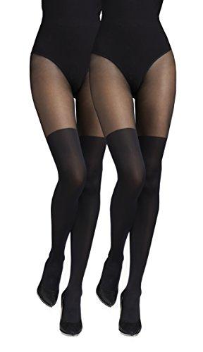 Marilyn blickdichte Strumpfhose 2er Pack, 60 Denier, Größe 36/38 (S/M), Farbe je 2x Schwarz (nero)