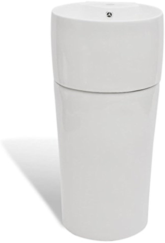 VidaXL Waschbecken Keramik Hahnloch Wei Standwaschbecken Waschtisch Sule
