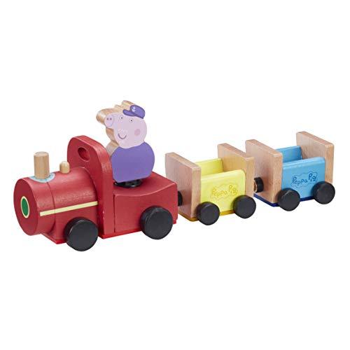 Peppa Pig- Tren de PAPY Pig 1 Personaje, Figura de George incluida, Juguete de Madera (GIOCHI PREZIOSI PPC65000)