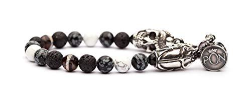 PORTONOVO Pulsera de un solo giro para hombre, serie Scarabeo con piedras blancas y volcánica y plata de grosor bra 04_1105