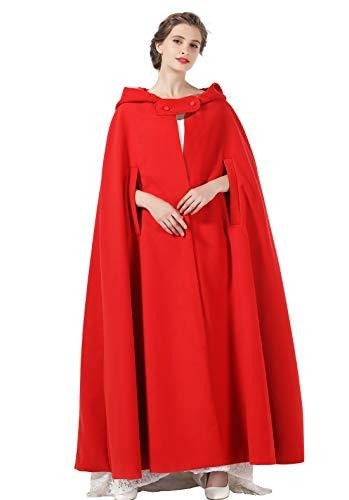 BEAUTELICATE Capa con Capucha Mujer Invierno Largo Poncho Lana para Vestido de Novia Boda Fiesta Navidad Halloween Medievales