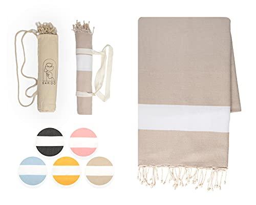 DARIDO Diamond Fouta Hammam Towel Beach Towel - Toalla de playa (XXL, 100 x 200 cm, 100% algodón, hecha a mano, ligera, suave, absorbente, manta para camping, manta para picnic), color beige