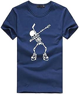 Wanxiaoyyyinnsdx Mens Henley Short Sleeve, Summer Slim Men's T-shirt Fashion Skulls Print Vintage Casual Streetwear Short ...