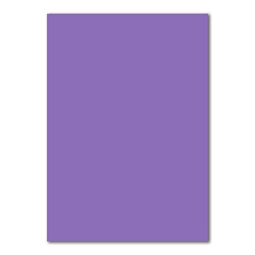 50 DIN A4 Papierbogen Planobogen -Violett - 160 g/m² - 21 x 29,7 cm - Bastelbogen Ton-Papier Fotokarton Bastel-Papier Ton-Karton - FarbenFroh