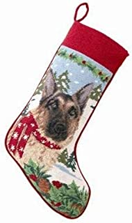 A Pets World Needlepoint Christmas Dog Stocking-German Shepherd + Scarf