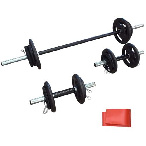 Kit 30kg Anilhas+2 Barras 40cm Com Presilhas+1 Barra 120cm+Mini Band