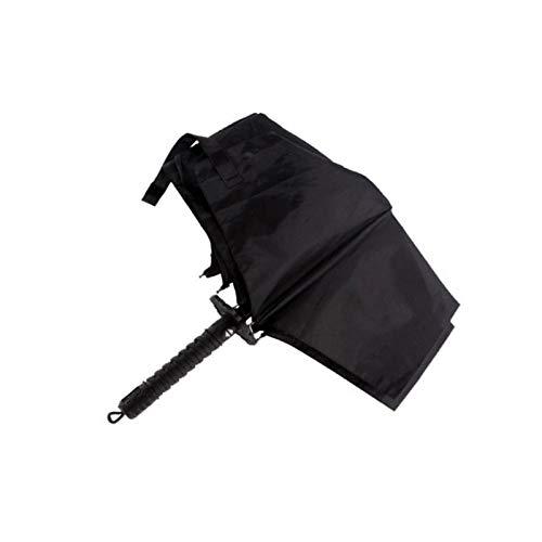 HHYUKINI Hommes Samurai Sword Ninja-Like Japonais Forme Parapluie Design Couteau Pliant Long-Manche Noir Pluie Pluie Parapluies