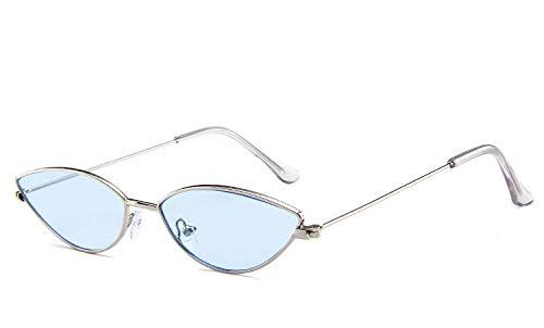 Sonnenbrille,Mode Retro Polarisierte Neuheit Katzenauge Hellblau Kleine Linse Designer Weiß Rahmen Uv400 Schutz Brille Für Sport Fahren Mountainbiken Golf Licht Brille Auge