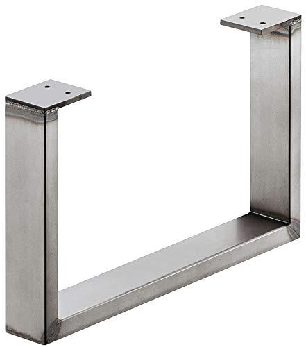 Stahl-Möbelkufe Möbelfuss zum Anschrauben | Tragkraft 200 kg | Metall Rohstahl lackiert im Vintage/Retro Look | Profil 80 x 20 mm | Möbel-Untergestell höhen-verstellbar +10 mm | 1 Stück