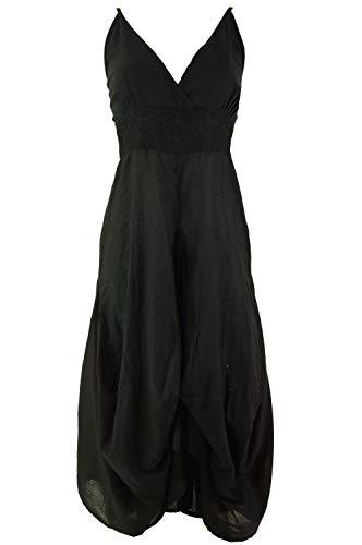 Guru-Shop Langes Sommerkleid Hippie Chic, Damen, Schwarz, Baumwolle, Size:M/L (40), Lange & Midi-Kleider Alternative Bekleidung