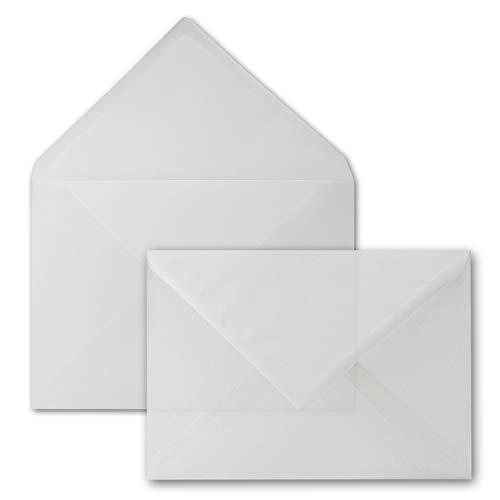 25x Briefumschläge DIN C5-162 x 229 mm - transparent-Weiß - Nassklebung - Premium Qualität - 92 g/m² - 16,2 x 22,9 cm - durchsichtige Kuverts - Gustav NEUSER
