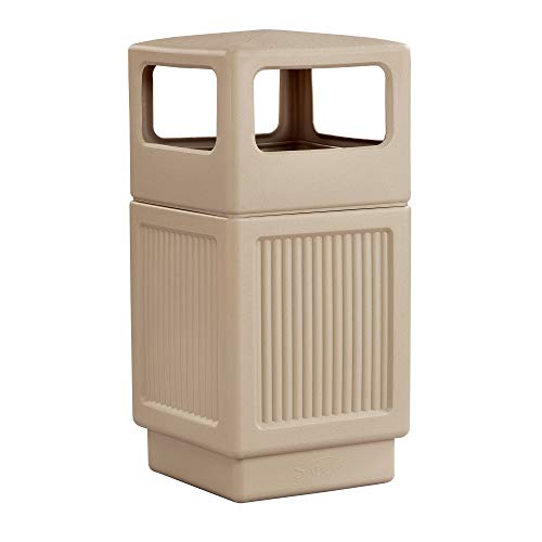 Safco Products Canmeleon Outdoor/Indoor Recessed Panel Trash Can 9476TN, Tan, Decorative Fluted Panels, 38-Gallon Capacity