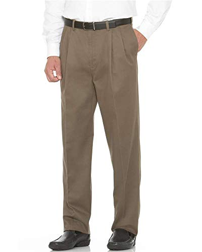Savane Men's Flat Front Performance Chino Pant, Shale, 40W x 32L