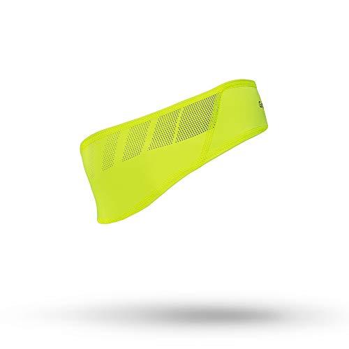 GripGrab Unisex– Erwachsene Leichtes Fahrrad Unterhelm Stirnband mit Winddichter Stirn für Radsport Laufen Dünnes Atmungsaktives Kopfband Mütze, Gelb(Hi-Vis), S (54-57 cm)