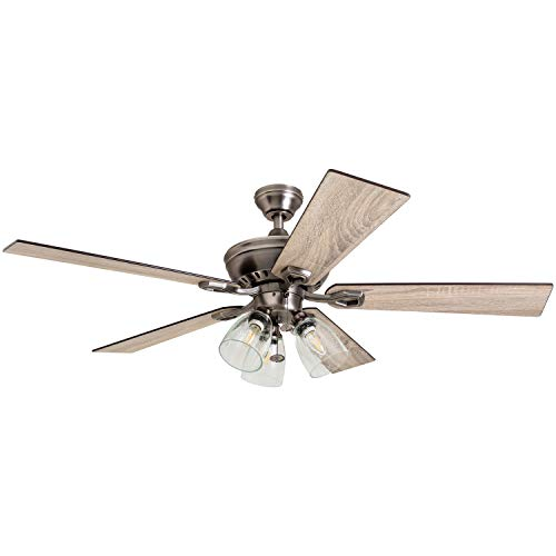 Prominence Home 50388 Glenmont Rustic Ceiling Fan, 52', Antique Pewter