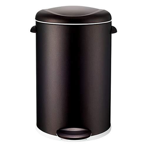 ZHAS Papelera, Papelera Sala de Estar Baño Baño Pedal Hogar Acero Inoxidable Dormitorio (Color: Cobre Negro, Tamaño: 12L)