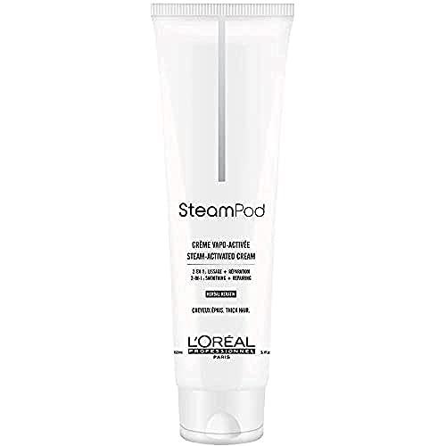 L'Oréal Professionnel Paris – SteamPod Crema Termo-protettiva sino a 210°C, per capelli spessi, liscio a lunga durata, 24 ore controllo crespo, tecnologia Pro-Keratina, pre-utilizzo piastra, 150 ml