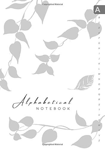 Alphabetical Notebook: B5 Lined-Journal Organizer Medium with A-Z Alphabet Tabs Printed | Cute Vine Leaves Design White